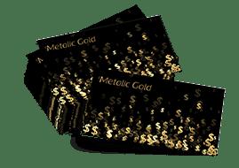 wizytówki na papierze złotym