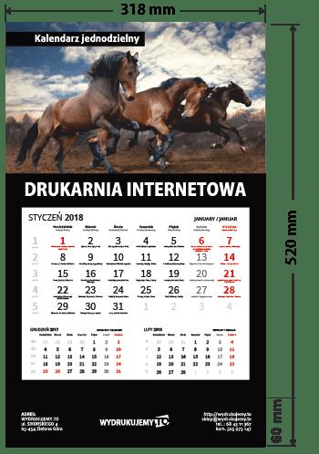 kalendarz reklamowy jednodzielny